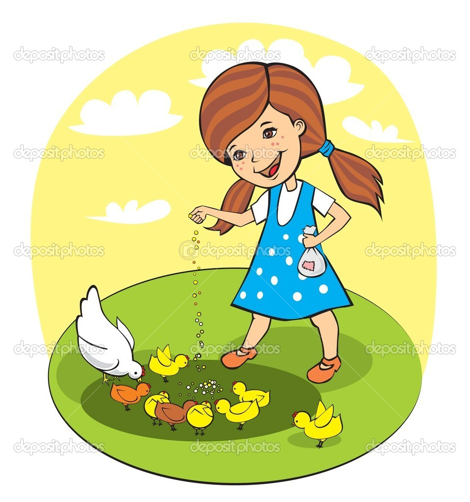 Girl feed chickens — Stock Vector © mezzoart1 #13266651