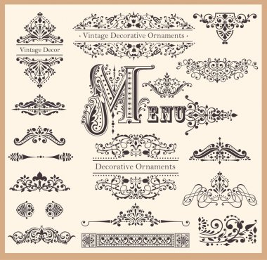 Vector set of Vintage Ornaments and Design Elements stock vector