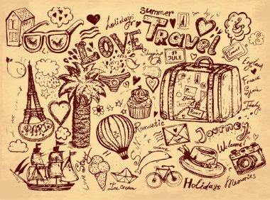 Vector hand drawn illustration. Pencil hand drawn illustration on theme travels