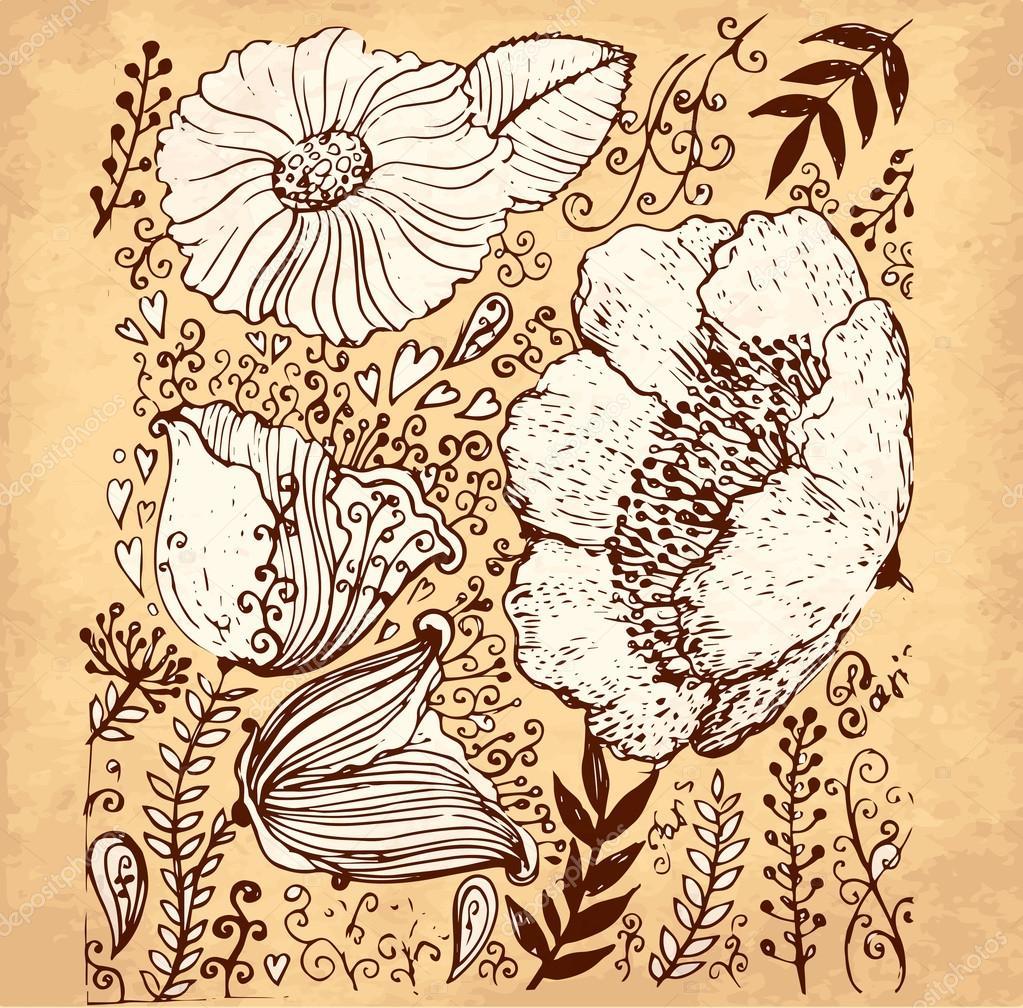Ilustracion Flores Vintage Vector Mano Dibujado Ilustracion