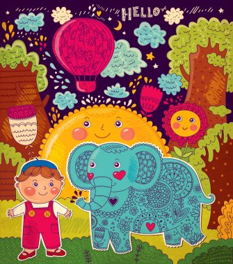 Vector illustration with elephant and boy