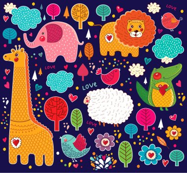 Vector set of cartoon stickers with animals