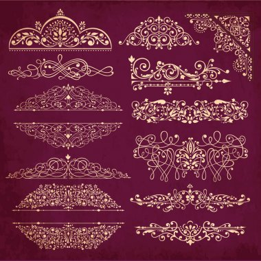 Vector collection of detailed vintage borders, ornaments and elements of decoration