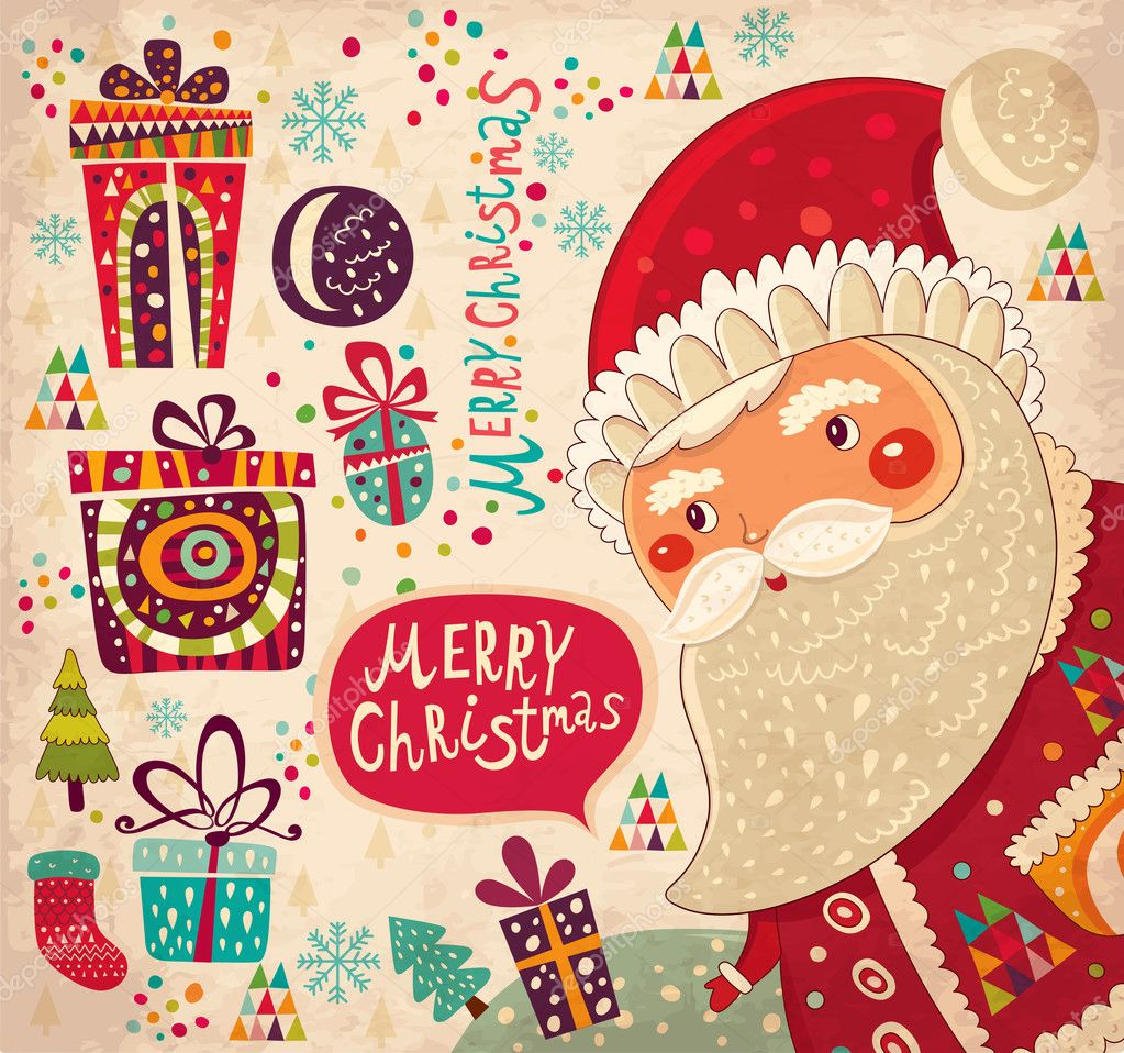 Vintage merry Christmas and Happy New Year card with Santa — Stock ...