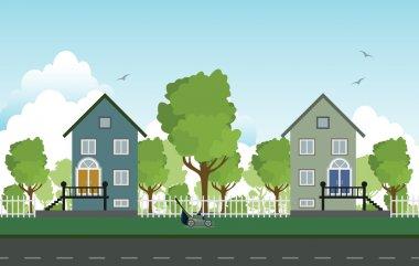 Roadside houses.