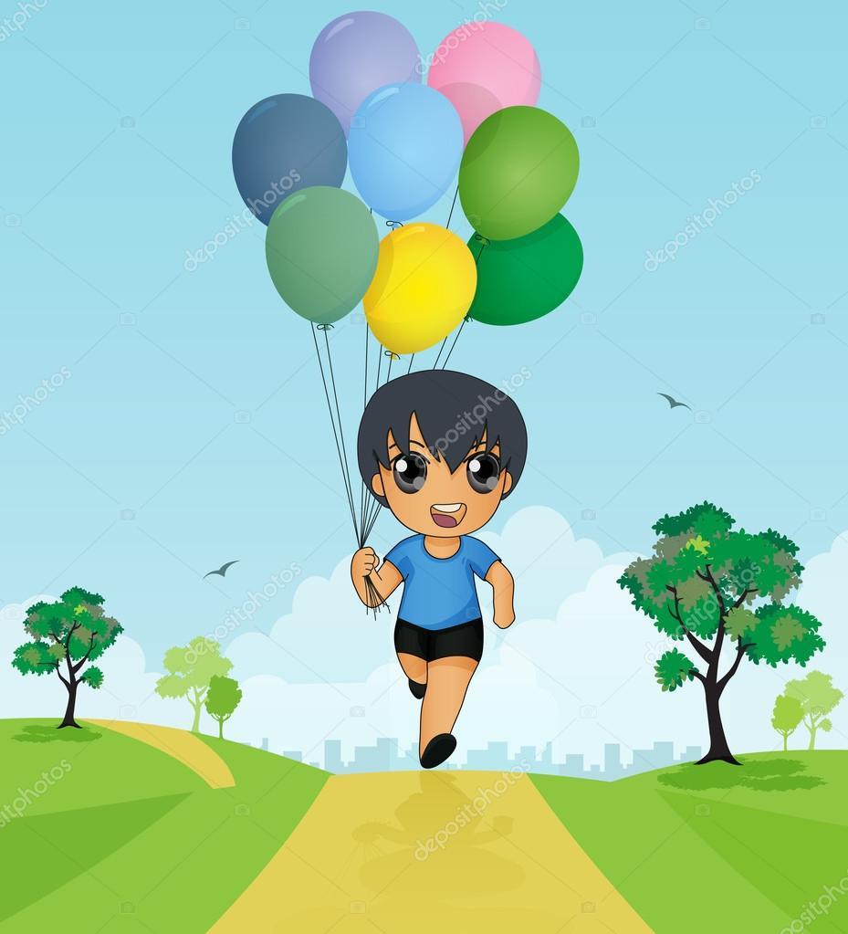 Balonlar Elinde Tutan çocuk Vektörler Ve Grafikleri Depositphotos