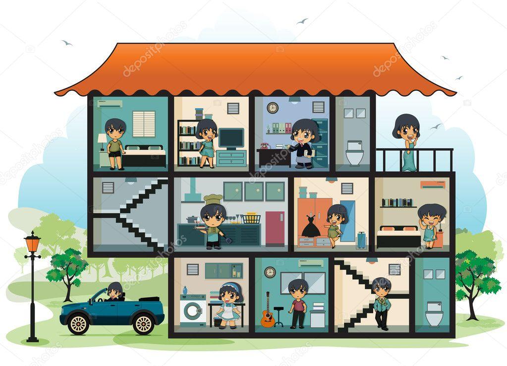 diverses pi ces de la maison image vectorielle intararit 45496467. Black Bedroom Furniture Sets. Home Design Ideas