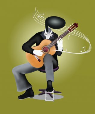 Guitar Man playing Guitar with Musical Notes and Sound Waves