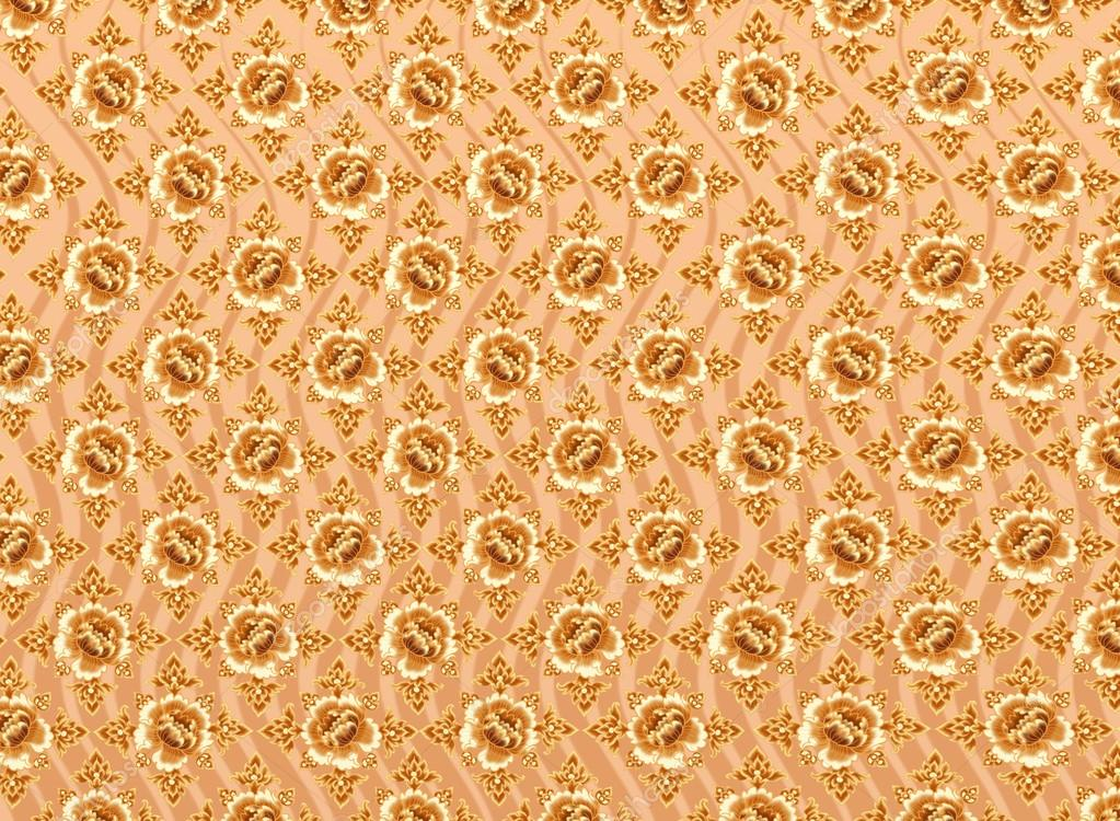 Golden Flower Pattern with Light Brown Background Textures