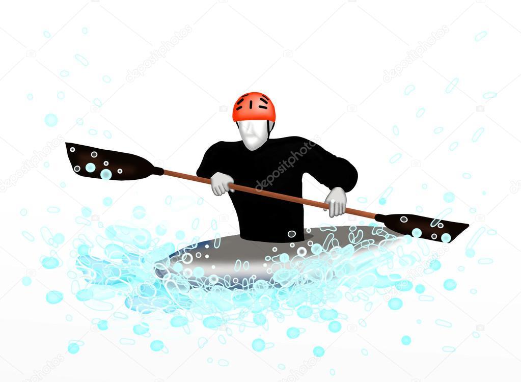 Canoeing : Sportsman Practising Canoeing.