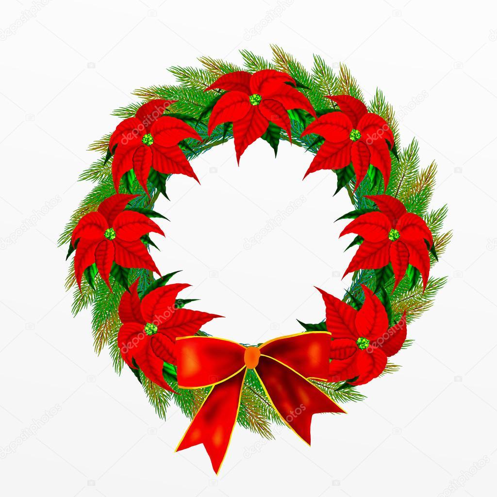 Corona de navidad con flores lazo y flor de pascua fotos - Imagenes flores de navidad ...