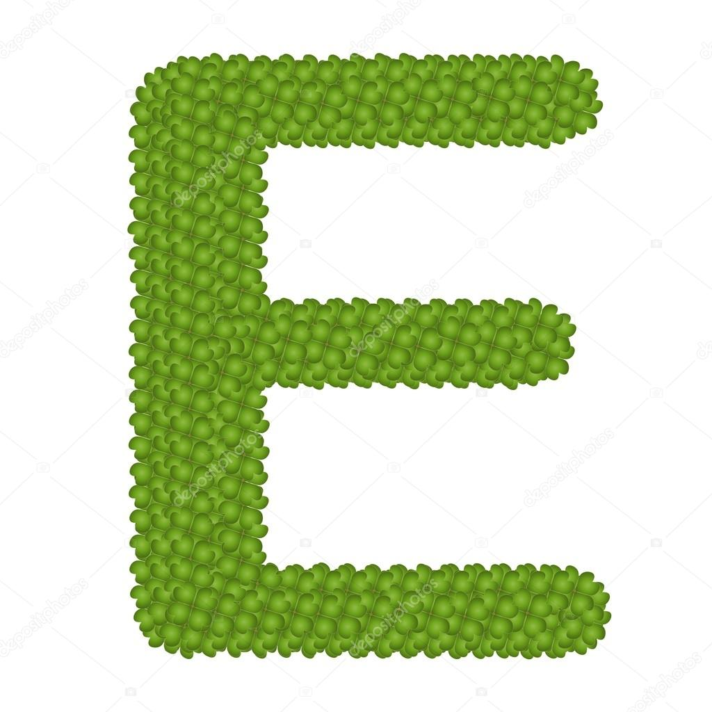 Four Leaf Clover of Alphabet Letter E