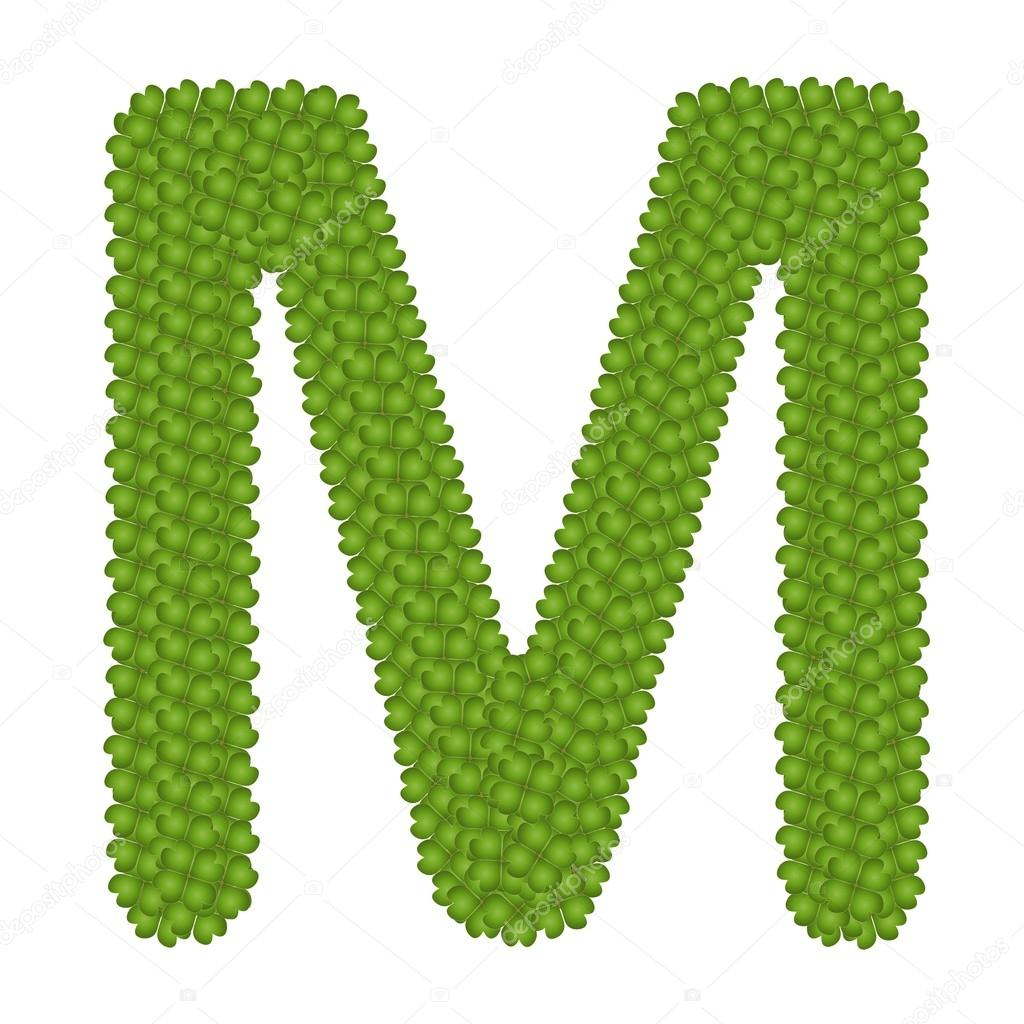 Four Leaf Clover of Alphabet Letter M