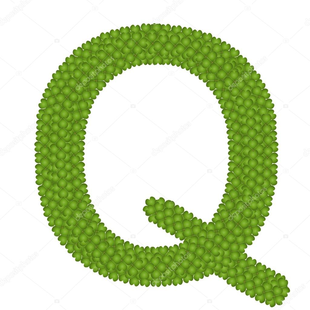 Four Leaf Clover of Alphabet Letter Q