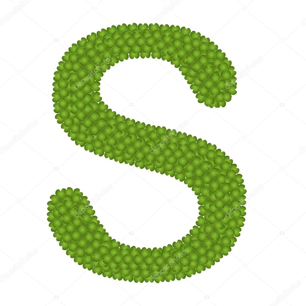 Four Leaf Clover of Alphabet Letter S