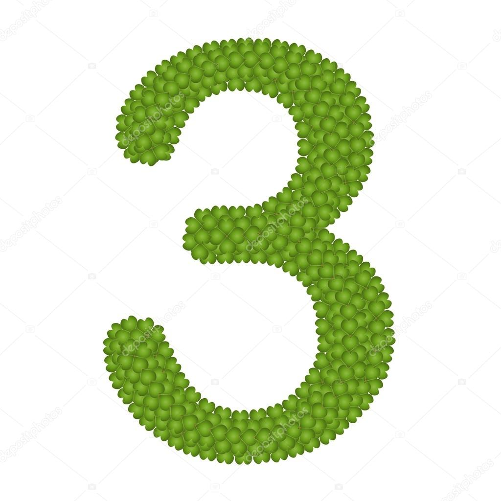 Four Leaf Clover of Alphabet Numbers 3