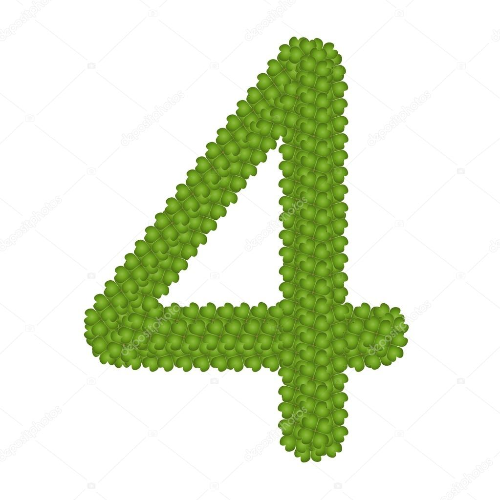 Four Leaf Clover of Alphabet Numbers 4