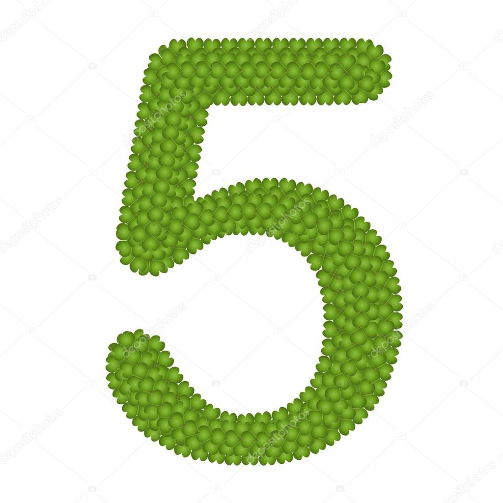 Four Leaf Clover of Alphabet Numbers 5