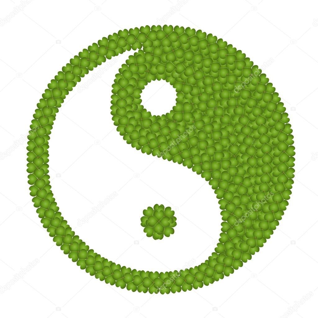 The Ying Yang Sign Made of Four Leaf Clove