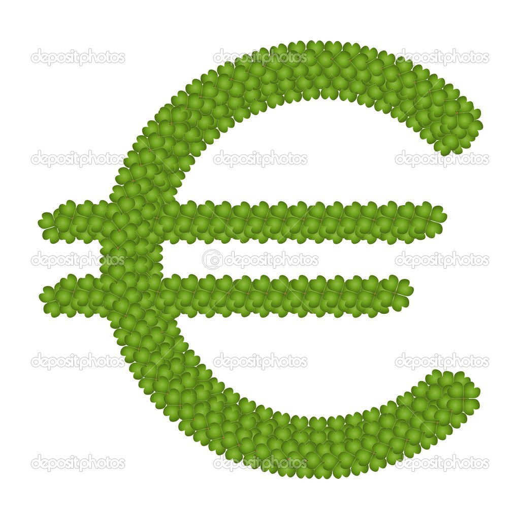 A Four Leaf Clove of Euro Symbol