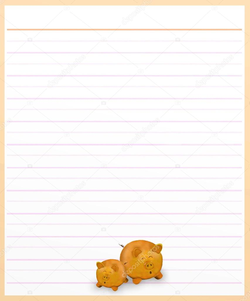 Pigs On Brown Color Lined Paper U2014 Stock Photo  Color Lined Paper