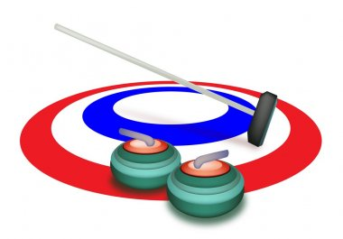 A Collection of Curling Stones on Ice