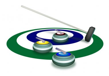 A Collection of Curling Stones on Ice Ring
