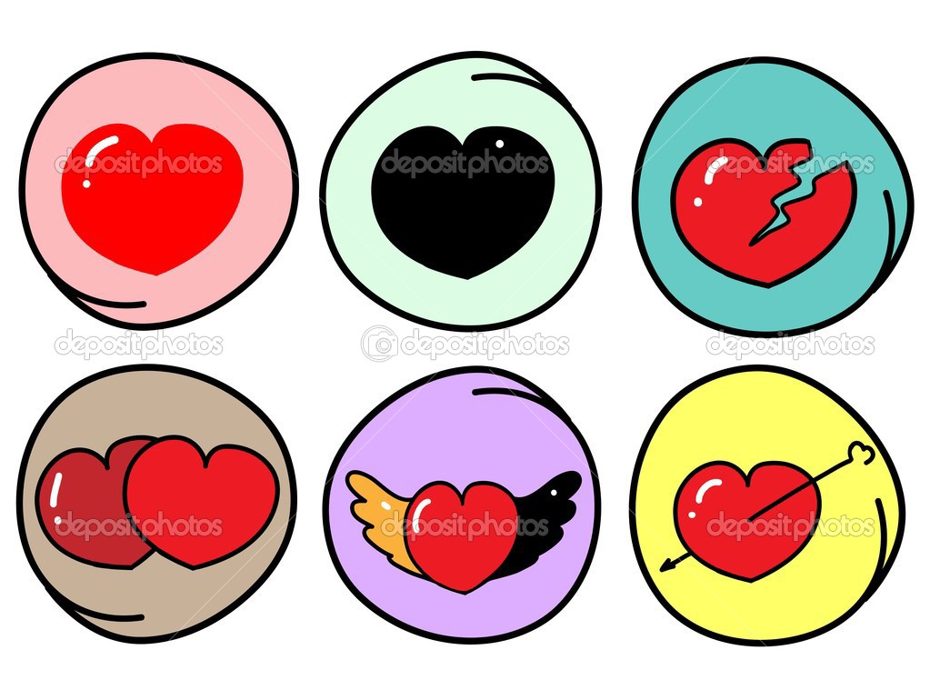 Set Of Different Heart Symbols On Round Background Stock Vector