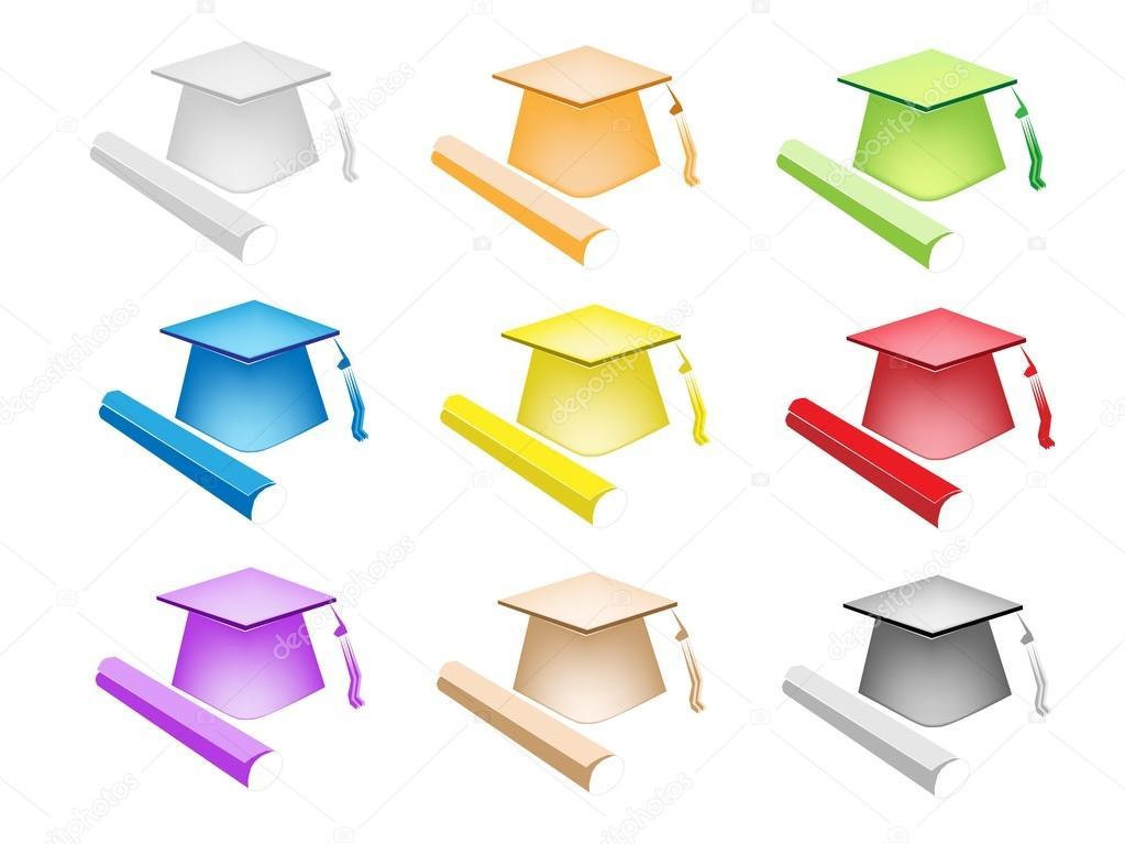 Set Colorato Illustrazione Di Cappello Diploma E Laurea