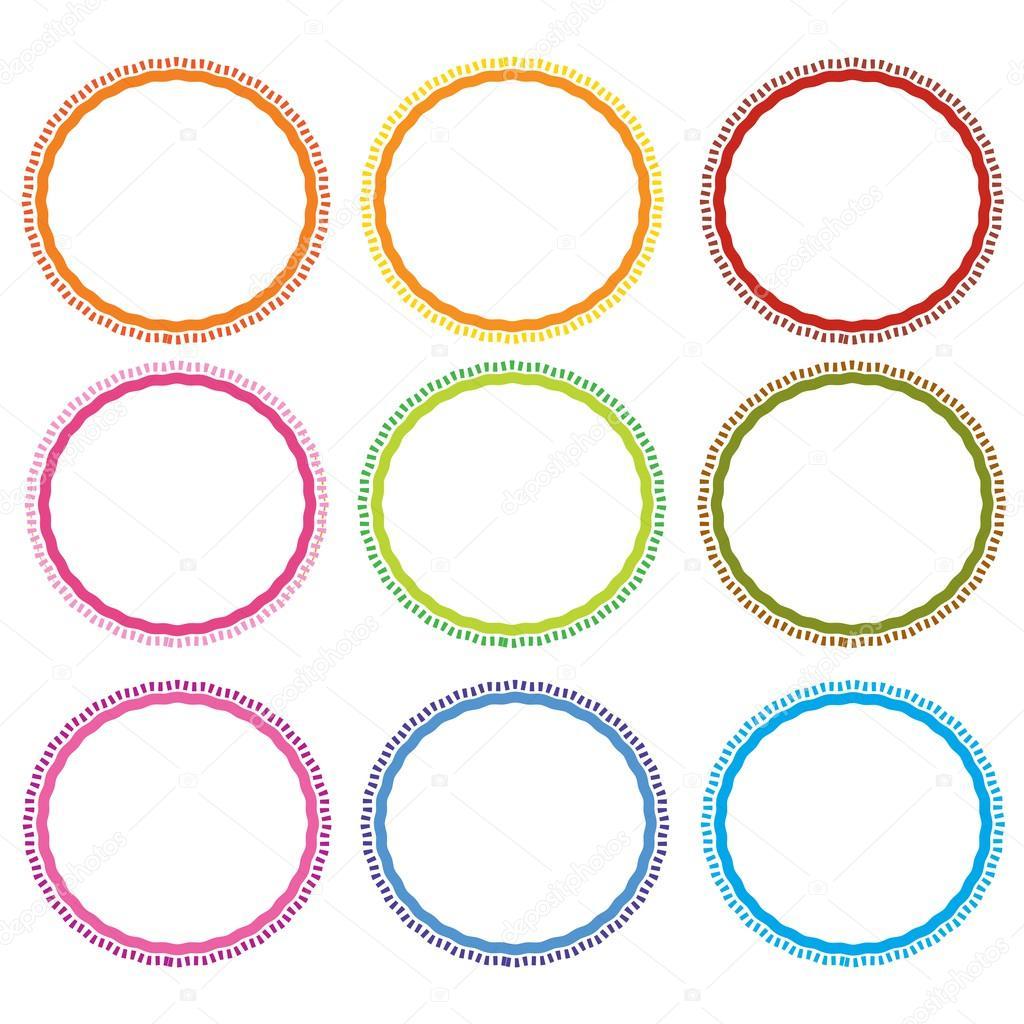 Ilustración colorido conjunto de marcos de círculo sobre fondo ...