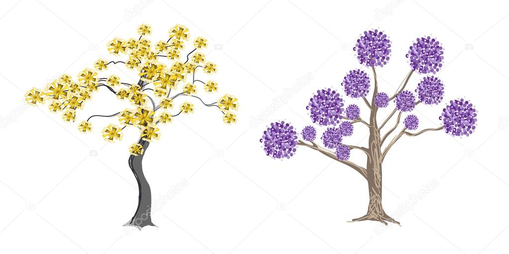 Abstract Illustration of Beautiful Yellow an Purple Trees