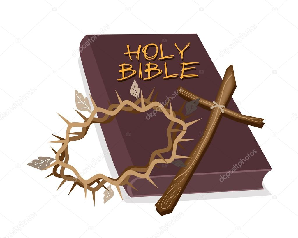 Holy Bible with Wooden Cross and Crown of Thorn
