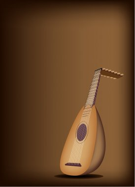 A Beautiful Antique Lute on Dark Brown Background
