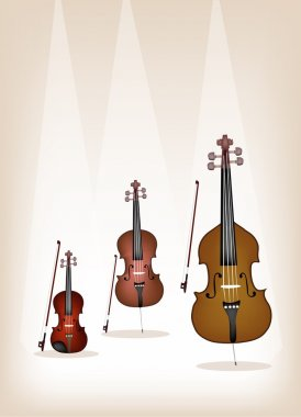Beautiful Musical Instrument Strings on Brown Background