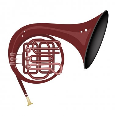 A Musical French Horn Isolated on White Background
