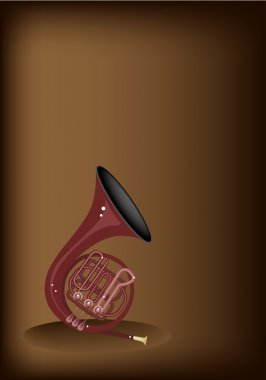 A Musical French Horn on Dark Brown Background