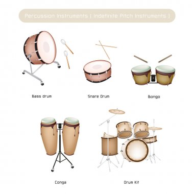 Set of Drum Instruments with Sticks on White Background