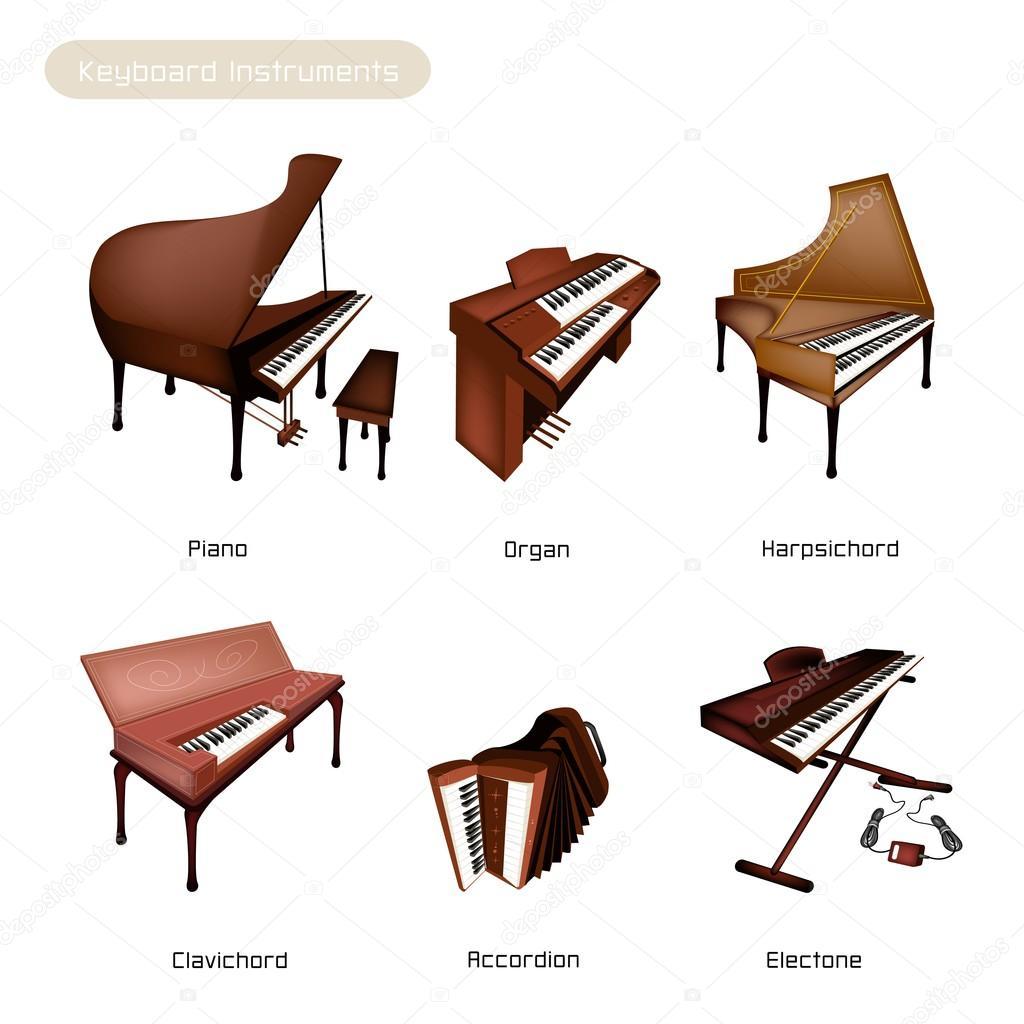 Six Keyboard Instrument Isolated on White Background