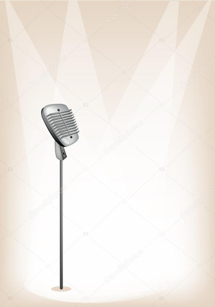 Un Microfono Retro Sobre Fondo Marron Fase Archivo Imagenes