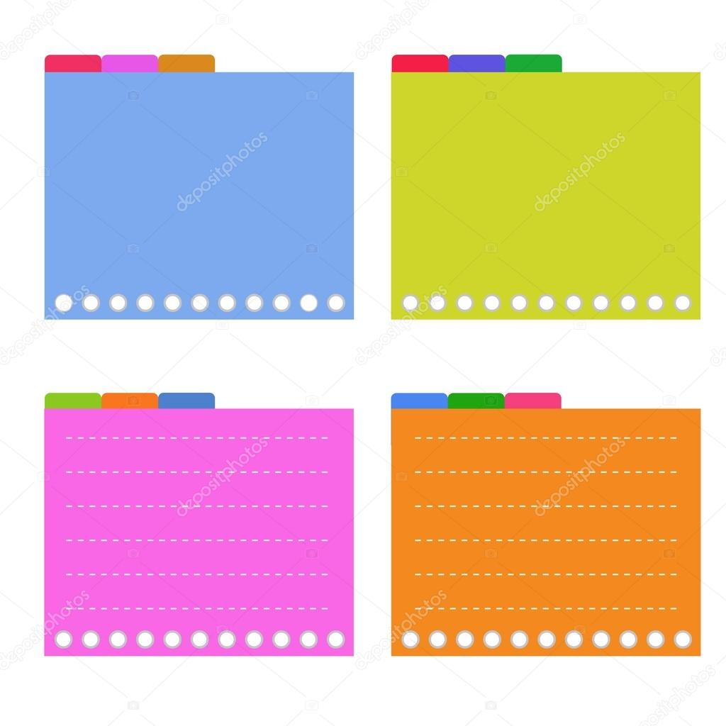 Four Colorful Lined Spiral Notepad Papers with Tabs Vector – Four Ruled Paper