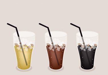 Three Kind of Iced Coffee on Brown Background