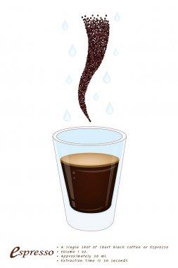 Single Espresso Coffee in A Shot Glass