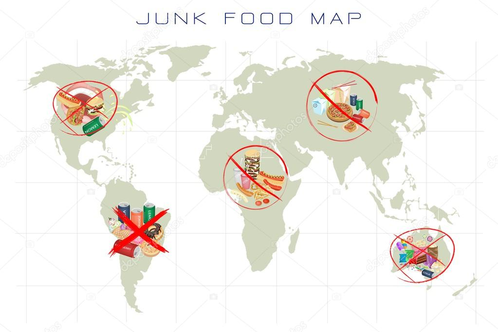 world map with fast food and take away food stock photo