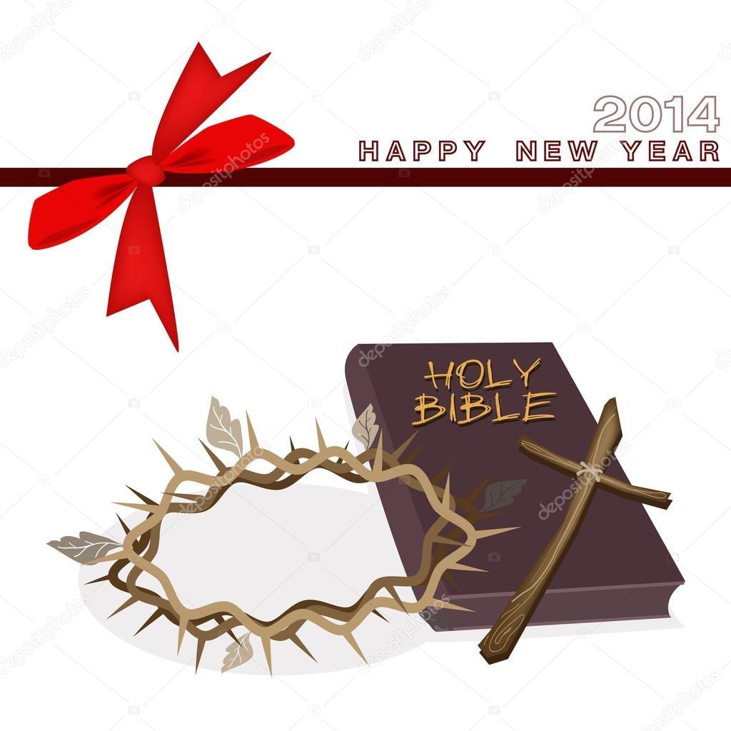 Tarjeta de regalo de año nuevo con Biblia y corona de espina — Vector de  stock © Iamnee #32264469