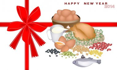 New Year Gift Card with Protein Foods