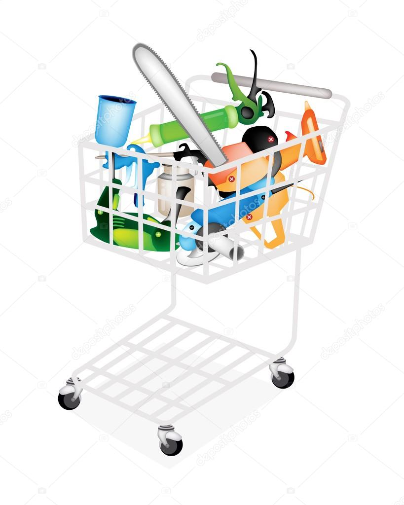 Craft Tools For Working Wood And Stuff In Shopping Cart Stock