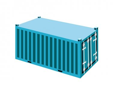 A Light Blue Container Cargo Container on White Background