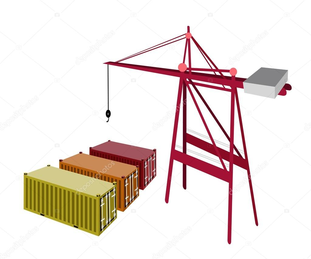 Three Freight Container Being with A Crane