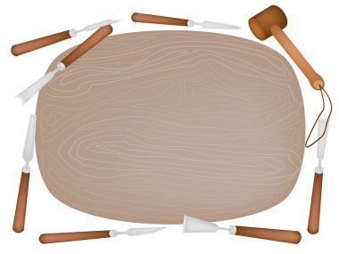 Carving Tools with Wooden Plank on White Background