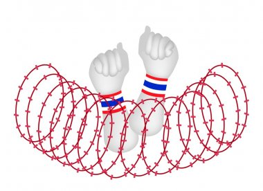 Human Hand Clenched Fist After Wire Barrier